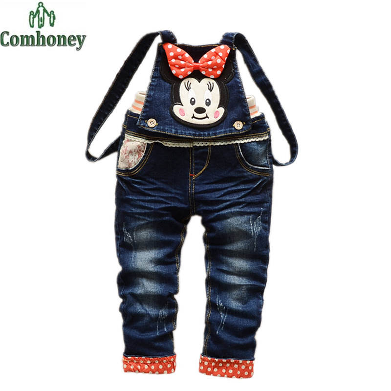 Girls Jumpsuit Minnie Mouse Denim Overalls Baby Infant Denim Overalls Multifunctional Jeans For Girls Baby Long Pants Comhoney