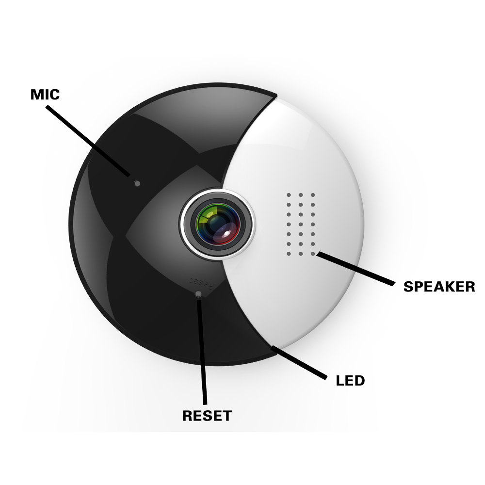360 Degree Panoramic Wifi IP Camera with 1.3MP Fish Eye & Dual Stream Image Video & Night Infrared with Free Android & iOS APP_E4