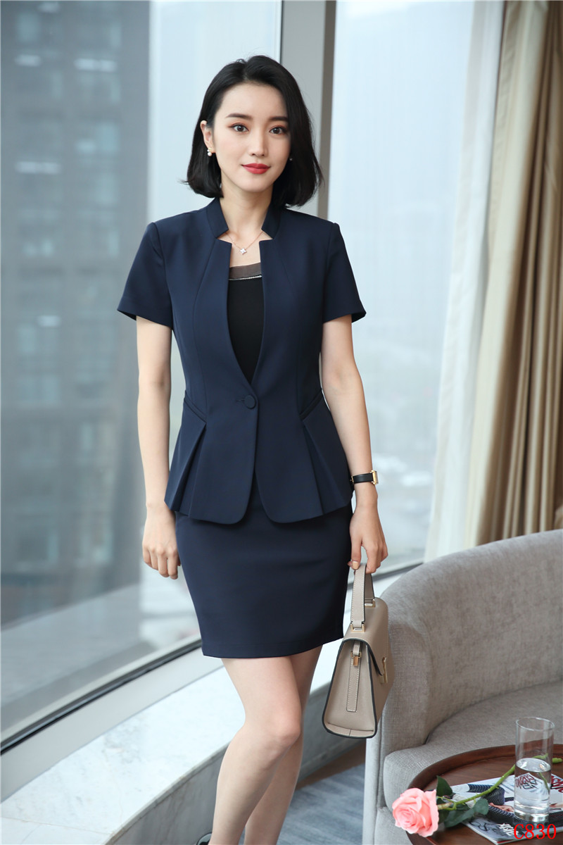 4779117c125e Women Business Suits 2 Piece Skirt and Top Sets Blue Jacket Short Sleeve Office  Ladies Work Wear Beauty Salon UniformsUSD 36.87 set