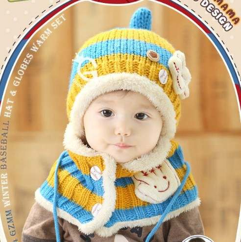 5ecc1c8b812 placeholder 2Pcs Baby Hat Winter Knitted Cap + Scarf Warm Cute Infant Baby  Knit Beanie Newborn