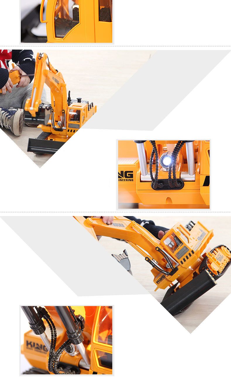 Large 11 Channels RC Excavator RC Car Remote Control Toys Car Electric Excavator Charging Electric Vehicle Toys For Kids Boys 15