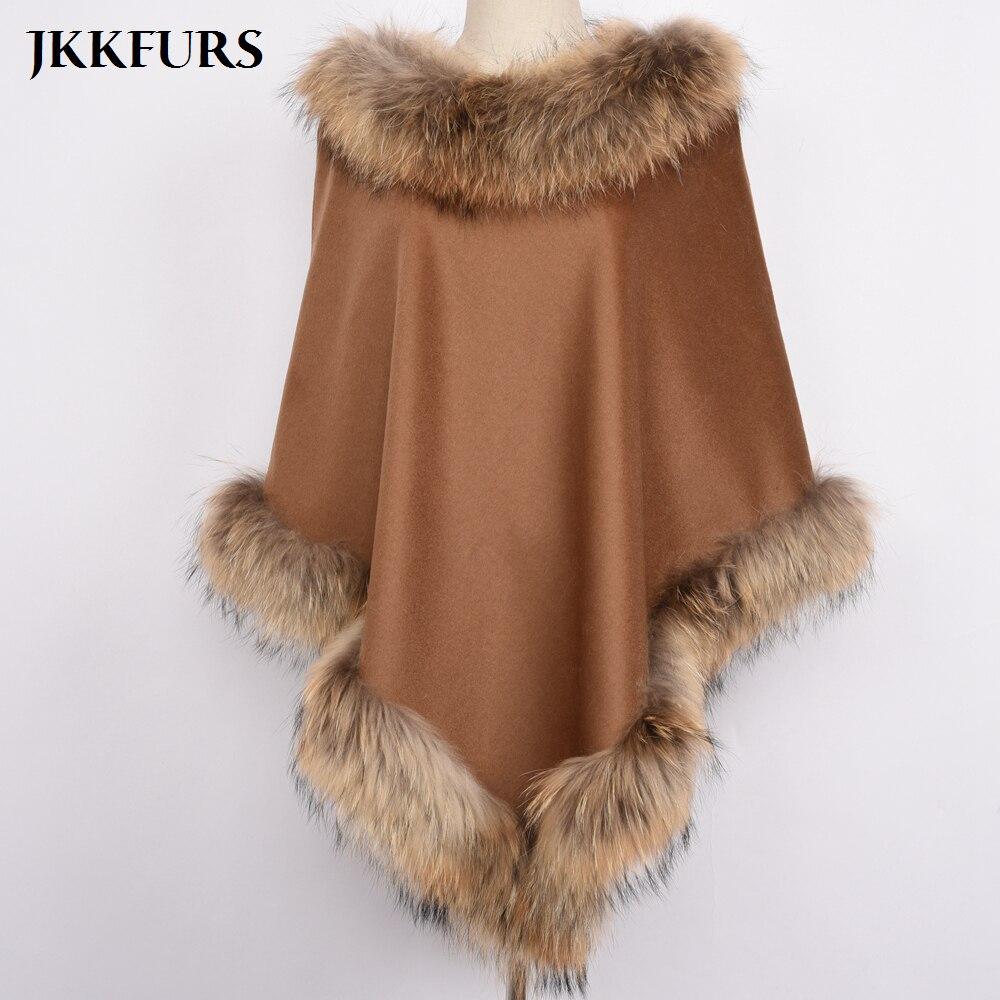 Women's Brown Pashmina Cashmere Coat Shawls With Fur Wool Scarf Fox Fur Raccoon Fur Collar Poncho Wrap Outwear Real Fur S7447