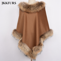 Women's Brown Pashmina Cashmere Coat Shawls With Fur Wool Scarf Fox Fur Raccoon Fur Collar Poncho Wrap Outwear Real Fur S7447