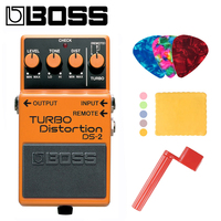 Boss DS 2 Audio Turbo Distortion Pedal for Guitar Bundle with Picks, Polishing Cloth and Strings Winder