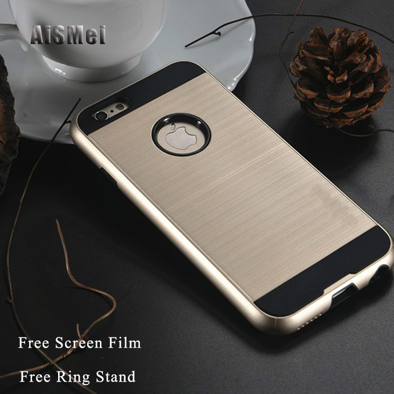 AiSMei Fundas For iPhone 4 4s Hybrid Silicone Armor Case For Coque iPhone 4s Case Filp Back Cover Bags Capa Free Screen Film
