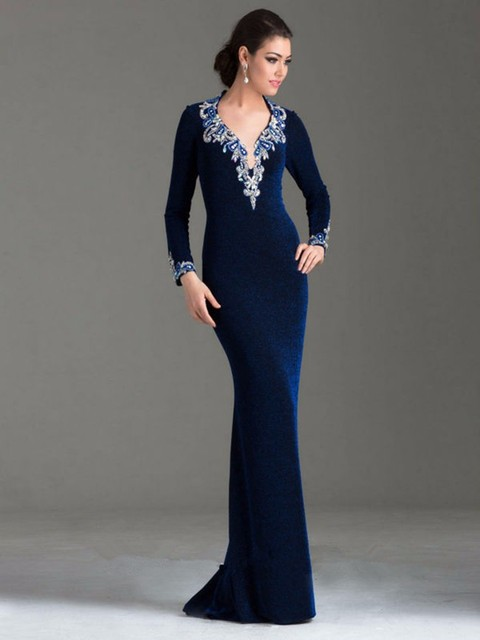 Vestido Special Occasion Dress Deep V Neck Open Back Long Sleeve