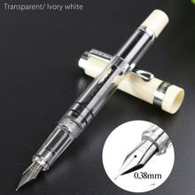 2019 Wing Sung 698 Piston White Cap Silver Clip Fountain Pen Extra Fine Nib цена