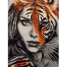 Diamond Painting 5D DIY Tiger and Woman Head Pattern Full Drill Round Diamond Embroidery Mosaic Stickers Cross Stitch цена