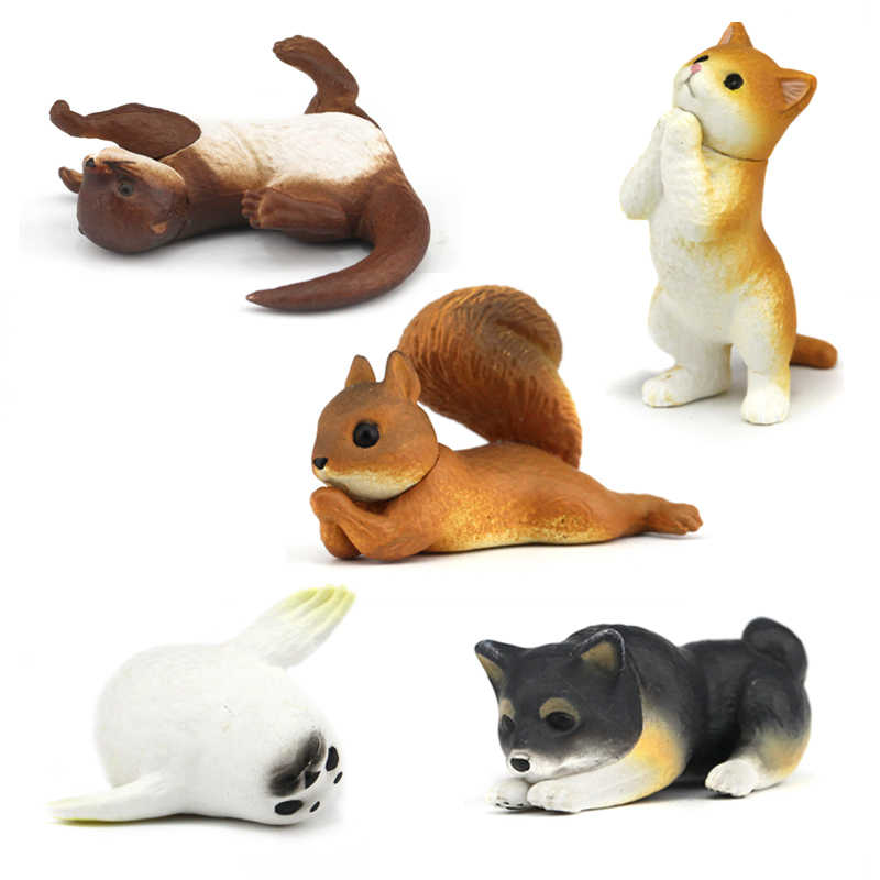 Japan genuine bulks cute animal pet baby petty Shiba Inu orange cat Otter Squirrel seal funny please gesture Beg For Food figure