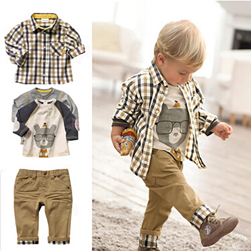 Hot 3 Pcs Baby Boy Clothing Boys Suit Clothes Lattice Spring Jacket Infant Coats Cartoon Bear White Long Shirt Boys Trousers Set bibicola spring autumn baby boys clothing set sport suit infant boys hoodies clothes set coat t shirt pants toddlers boys sets