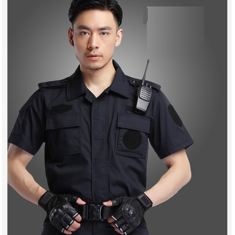(10 Set-shirt&pant)Security Guard Suits Hotel Property Grid Cotton Long Sleeve Combat Security Work Uniform Bodyguards Overalls