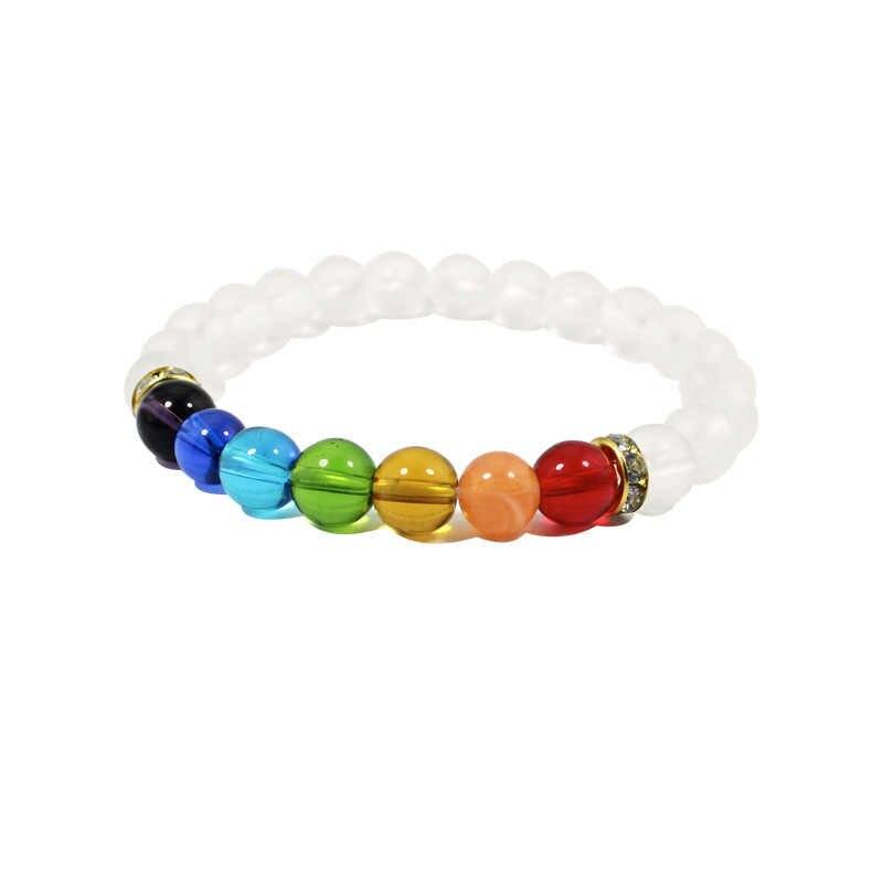 KMVEXO 2019 nowy 7 Chakra bransoletki kolory mieszane kryształy terapeutyczne kamień czakra Mala bransoletka dla kobiet mężczyzn biżuteria