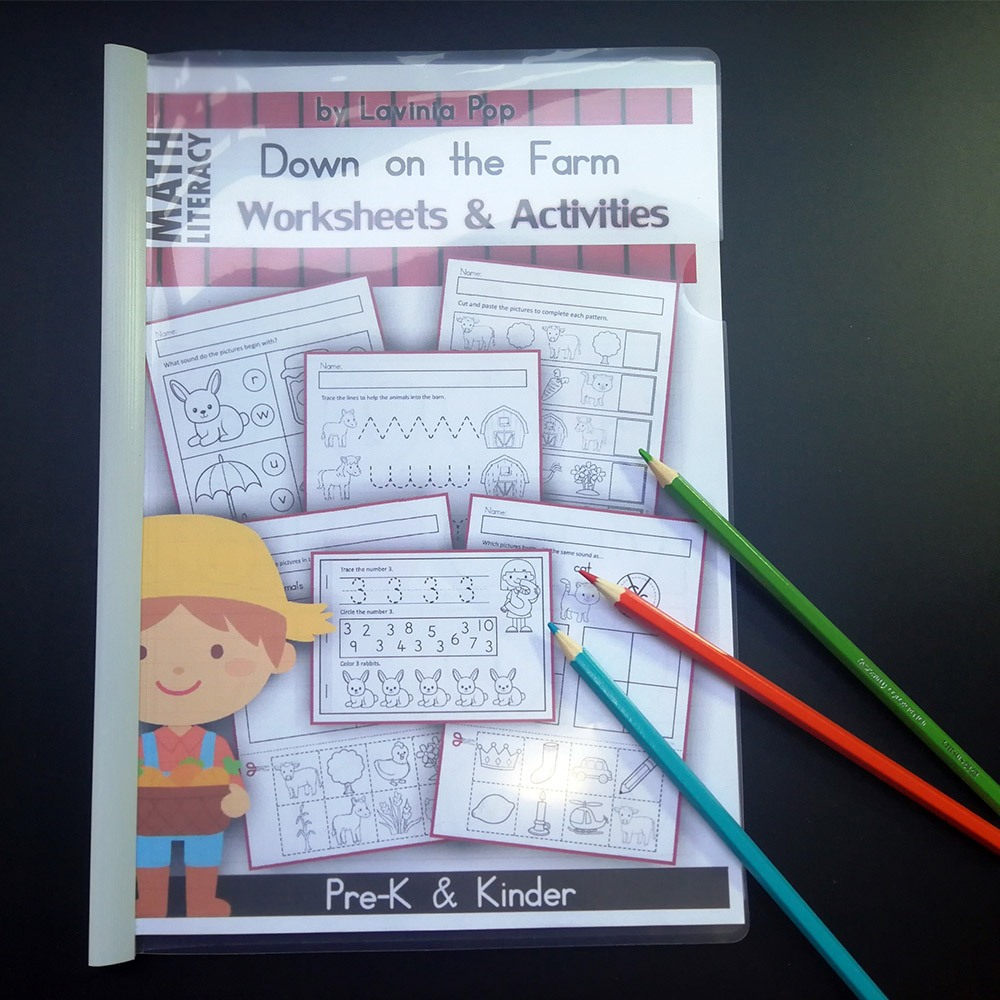92Pcs Farm Theme Fun Kindergarten English Practice Book Alphabet Reading  Digital Shape Training Workbook Kids Education Toys    - AliExpress [ 1000 x 1000 Pixel ]