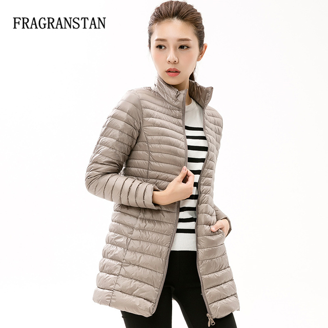 bce5e4cb65 90% White Duck Down Jacket Women Winter New Fashion Waterproof Light Warm  Soft Solid Color Long Coat Large Size Slim Parkas LY87