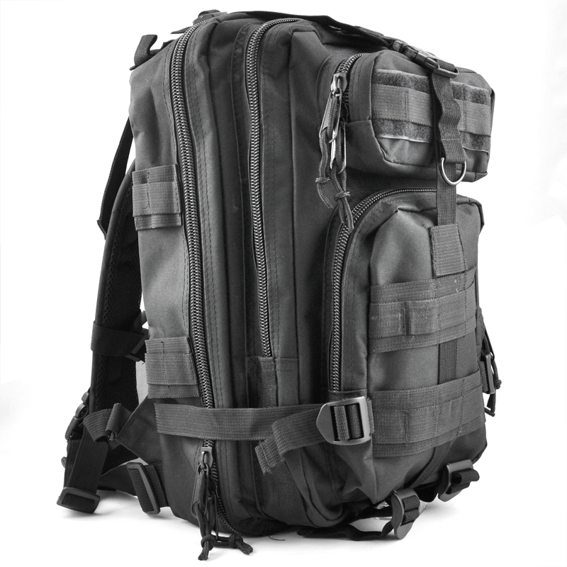 JHO-30L 야외 군사 배낭 배낭 캠핑 하이킹 가방 - 블랙