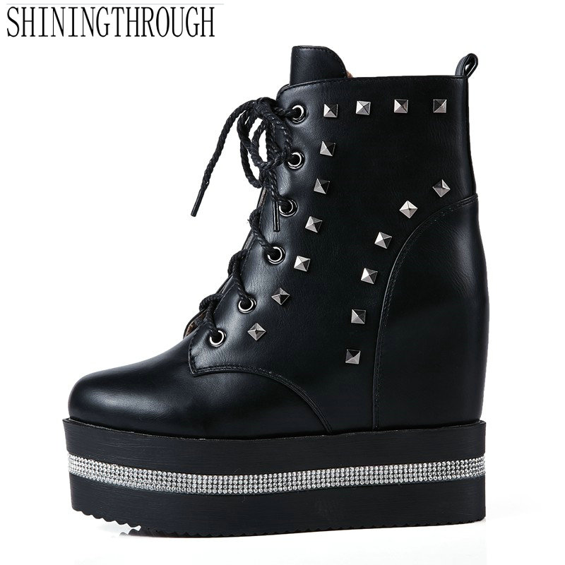 New lace up ankle boots rivets 2018 boots platform women boots high heels boots woman casual