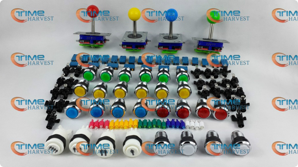 ФОТО Arcade parts Bundles kit With Joystick Chrome Pushbutton Microswitch 1P 2P 3P 4P Button to Build Up Arcade Machine By Yourself