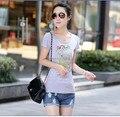 2016 nuevo verano de manga corta Camiseta de Las Mujeres Coreanas delgado más tamaño XXXL marca camiseta de algodón femenino