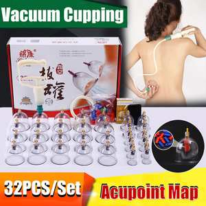 Vacuum-Cupping-Kit Cups Massagers Curve-Suction-Pumps Cans Pull-Out Chinese 32 Relax