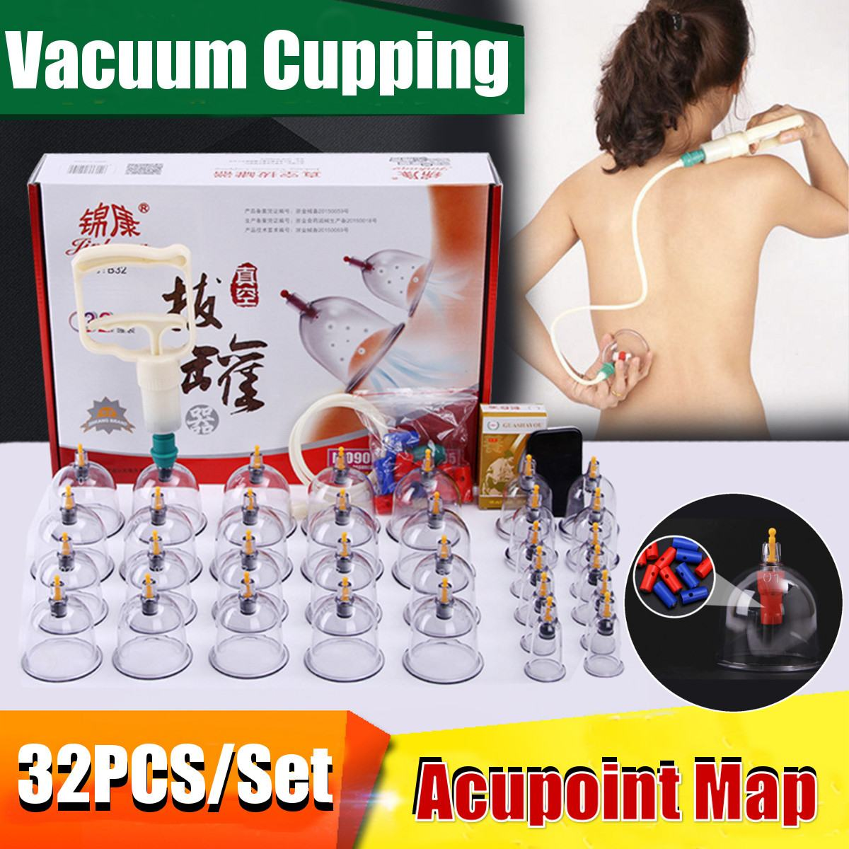 32 Cans Cups Chinese Vacuum Cupping Kit Pull Out Vacuum Apparatus Therapy Relax Massagers Curve Suction Pumps