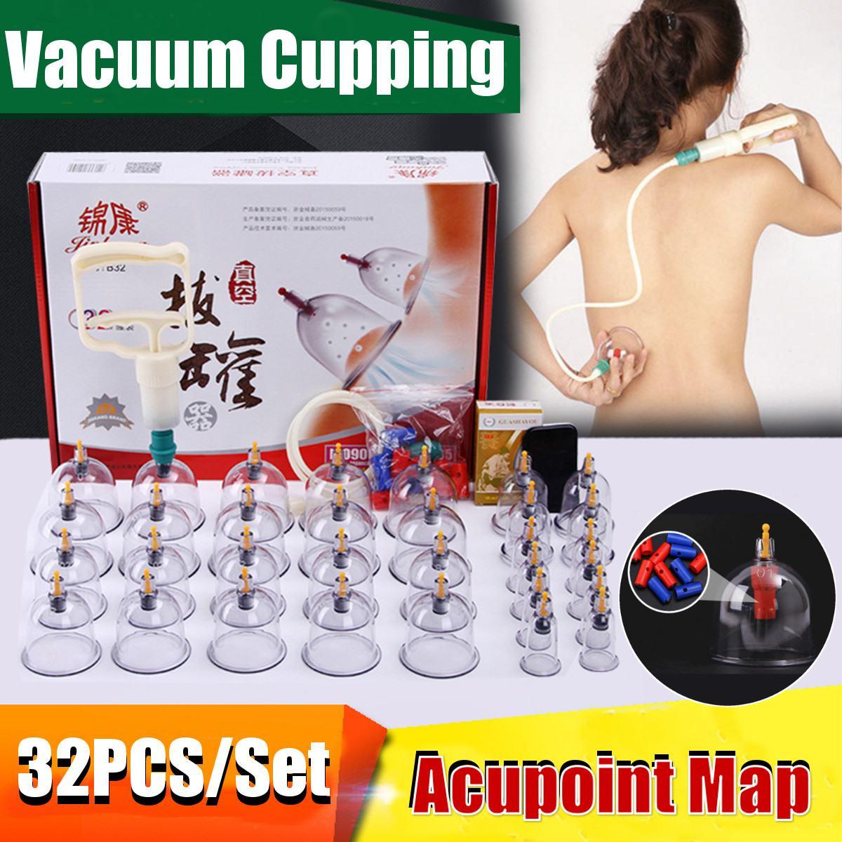 32 latas copos de vácuo chinês cupping kit puxar para fora aparelho de vácuo terapia relaxar massageadores curva sucção bombas