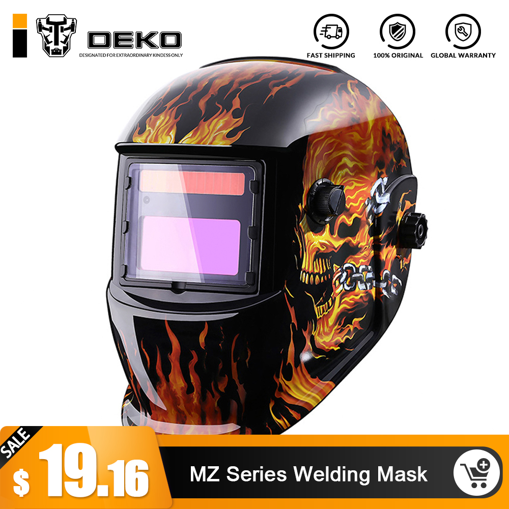 DEKO Skull Solar Auto Darkening  MIG MMA Electric Welding Mask/Helmet/welder Cap/Welding Lens for Welding Machine