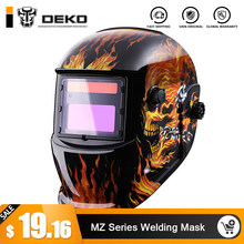 DEKO Skull Solar Auto Darkening MIG MMA Electric Welding Mask/Helmet/welder Cap/Welding Lens for Welding Machine(China)