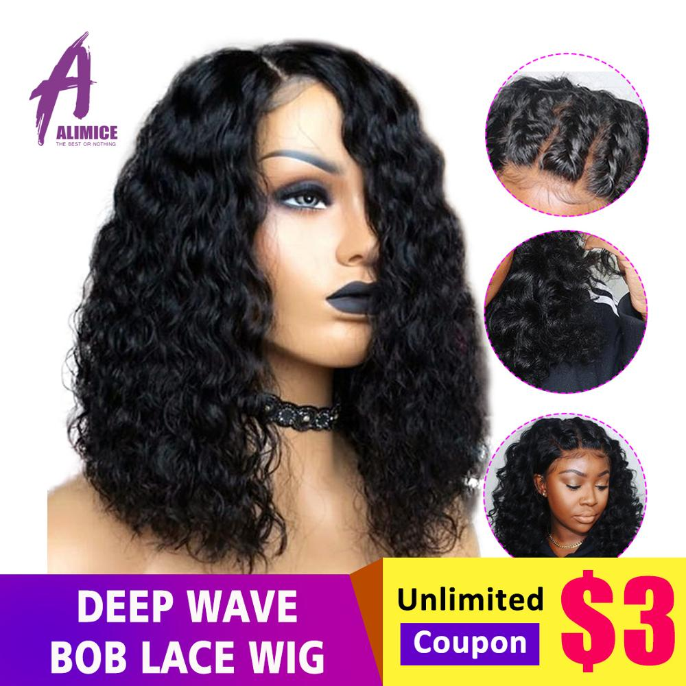 Short Bob Deep Wave Lace Wig 13 4 Lace Front Human Hair Wigs Preplucked Hairline Brazilian