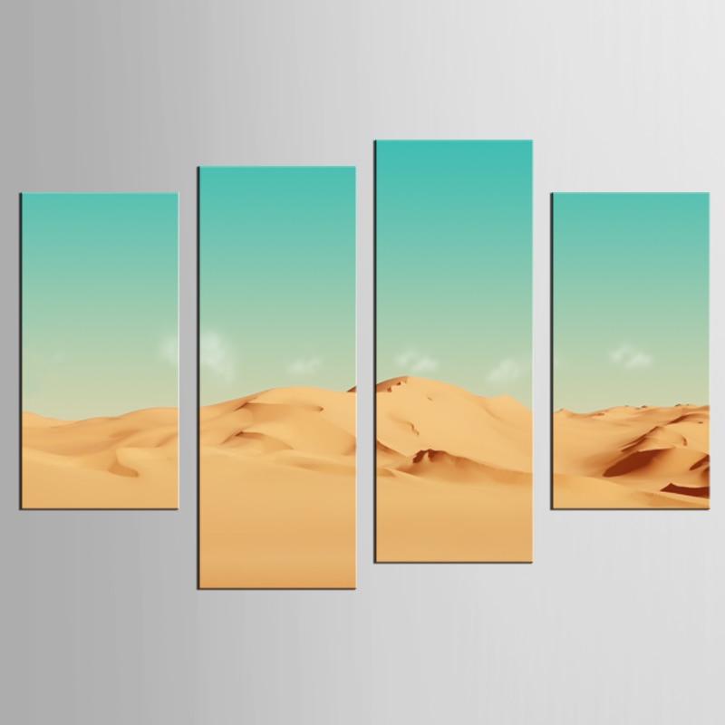 acheter 4 pi ces d 39 or sable coucher du soleil d sert peinture moderne mur d cor. Black Bedroom Furniture Sets. Home Design Ideas