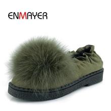 ENMAYER 2018 High Quality Woman Flat Shoes Winter Warm Fashion Ladies Casual Plush Slip-On Handmade Female