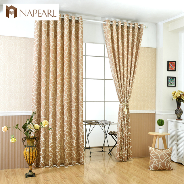 black and beige living room curtains modern wooden furniture napearl geometric jacquard simple design blind home decoration window