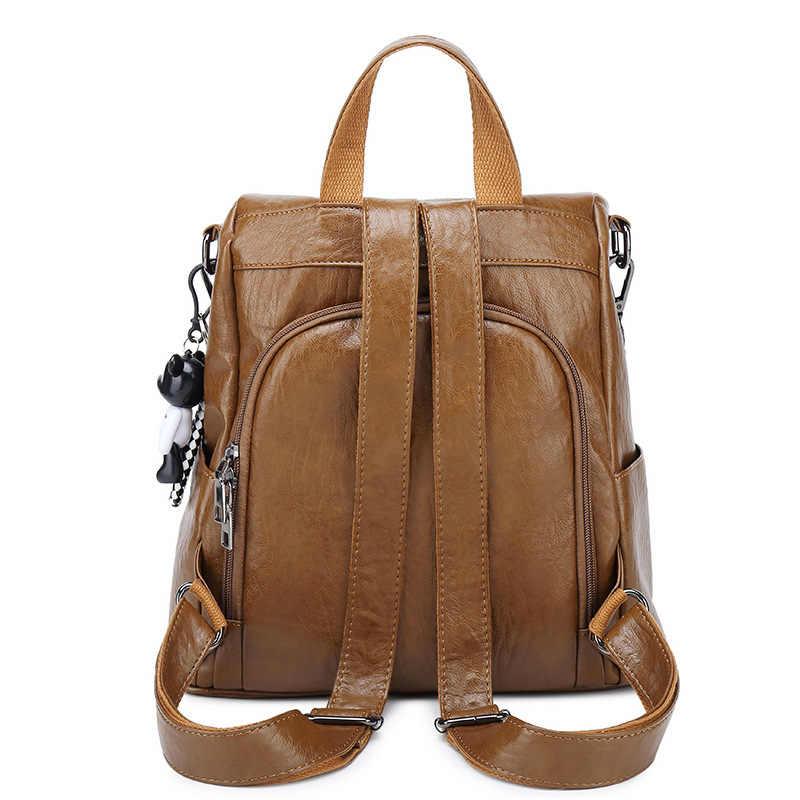 2019 Women Leather Backpacks Vintage Female Shoulder Bag Sac a Dos Travel Ladies Bagpack Mochilas School Bags For Girls New C797