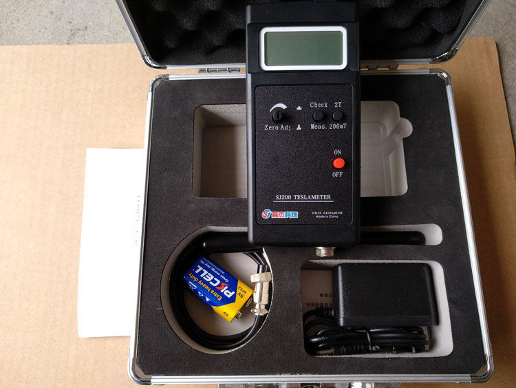 SJ200 Digital Gauss Meter Static Magnetic Field Tesla Tester 0-200Mt-2000mT with Adapter and Carrying Box