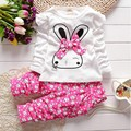 Kids Clothes 2016 Autumn/Winter Infant Baby Girl Casual Long Sleeve Cartoon Rabbit Bowknot Set Girls Children Clothing Sets