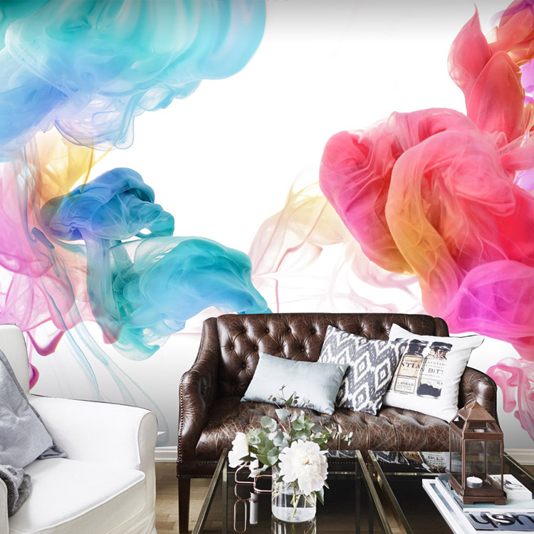Custom 3D photo wallpaper Modern fashion personality custom colorful smoke wallpaper mural bedroom living room wallpaper book knowledge power channel creative 3d large mural wallpaper 3d bedroom living room tv backdrop painting wallpaper
