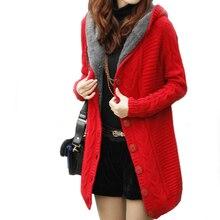 Women warm knitted outwear fleece lining winter thermal hooded cardigans Women knitted sweater jacket