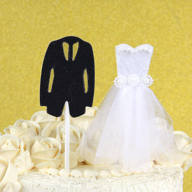 2pc/set Wedding Dress Cupcake Cake Topper Suit Cake Flags Birthday ...