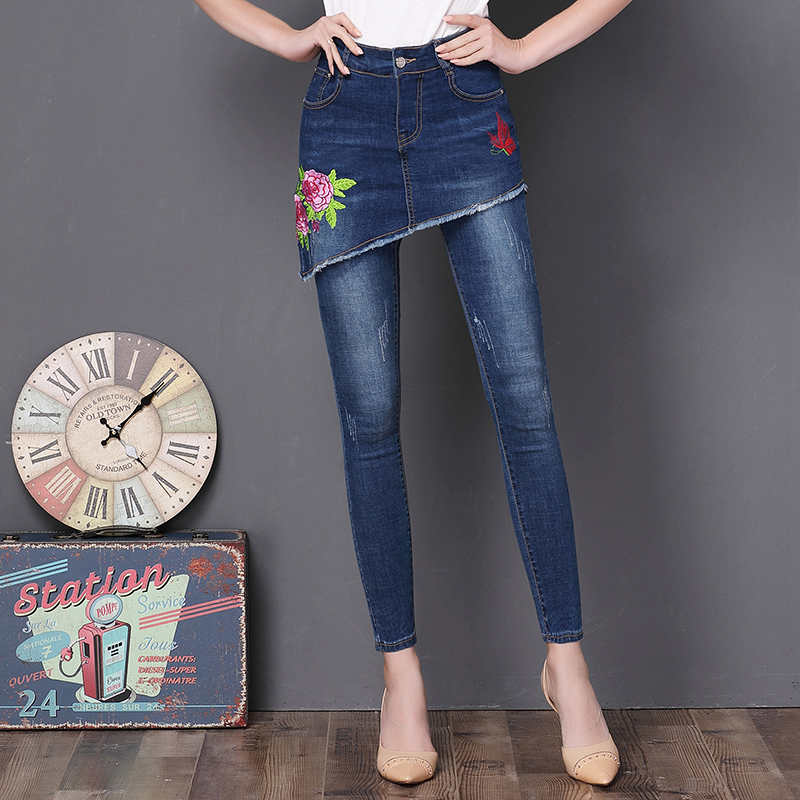 Dtynz Jeans Woman Black Fake Two-Piece Embroidery High Waist Jeans Push Up Skinny Woman Plus Size Elastic Jeans Jean Slim Femme