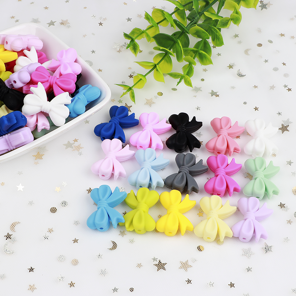TYRY.HU 2pcs Silicone Bow Knot Beads DIY Teether Beads Food Grade Teething Silicone Pacifer Holder Accessories