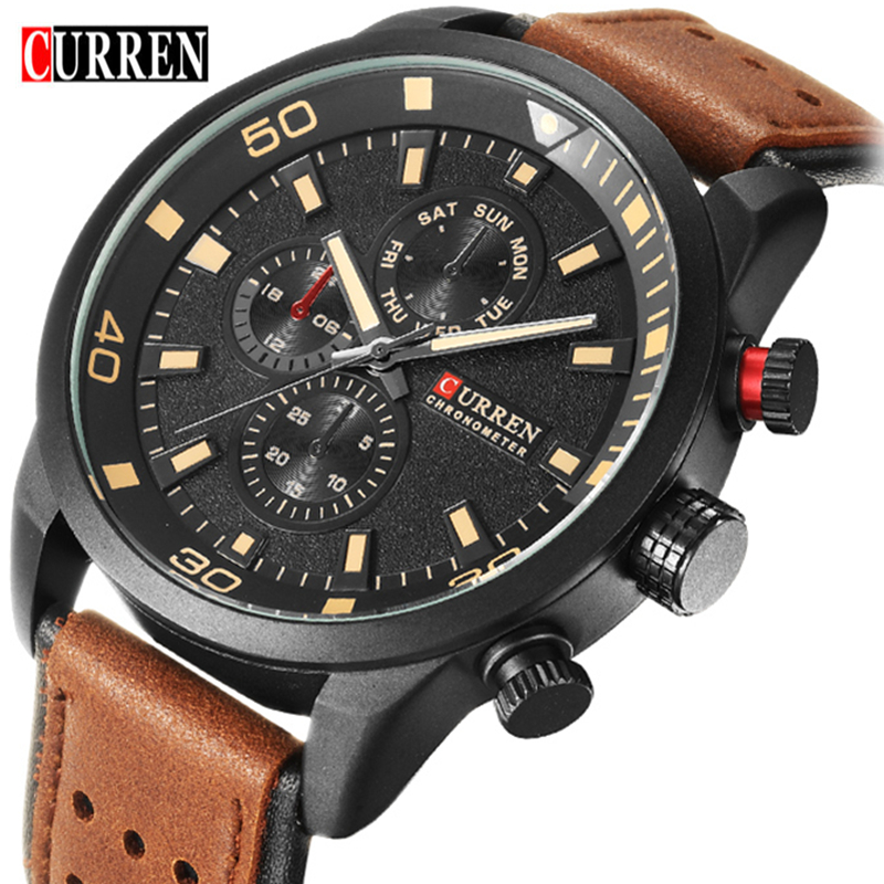 CURREN Watch Mens Luxury Brand Casual Watch Quartz Clock Men Sport Watches Men's Leather Military Wrist Watch Relogio Masculino genuine curren brand design leather military men cool fashion clock sport male gift wrist quartz business water resistant watch