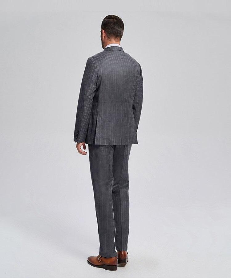 Padrino novio esmoquin gris con rayas hombres trajes pico solapa mejor hombre 2 piezas boda Blazer (chaqueta + Pantalones + corbata) c559 - 2