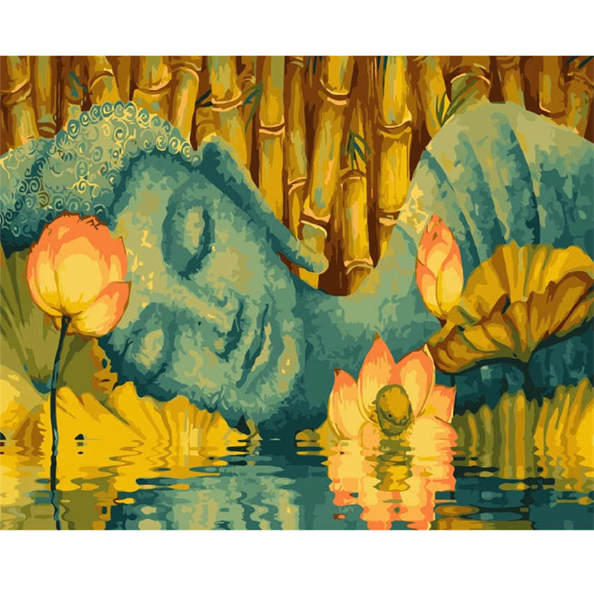 DIY Digital Painting By Numbers Package Water lily Buddha oil painting mural Kits Coloring Wall Art Picture Gift frameless