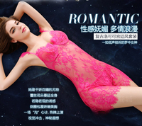 FREE SHIPPING Lace transparent gauze hot sexy lingerie straps nightgown big yards pajamas women SAO summer extreme temp IN STOCK