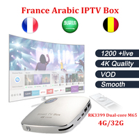 NUEVA CSA96 Android tv box + NEO Francia IPTV Árabe iptv ROCKCHIP RK3399 BT4.0 4G/32G USB WIFI Android 6.0 Unidades Top Box envío gratis