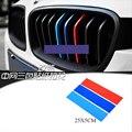 Стайлинга автомобилей 3 шт.///M 3D пвх Передняя Решетка Полосы Наклейка Для универсальный BMW e46 X3 X4 X5 X6 Передняя Решетка Стикер Для BMW