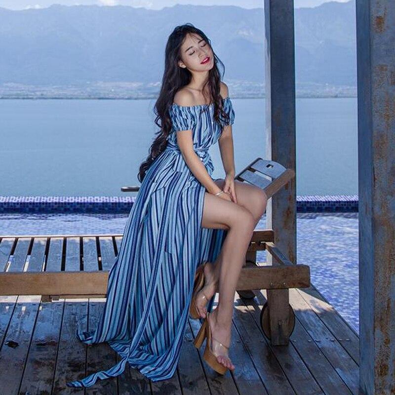 Boho robe élégante femmes Slash cou plage rayé imprimé à manches courtes bouton avant une ligne robe Vestidos Y74