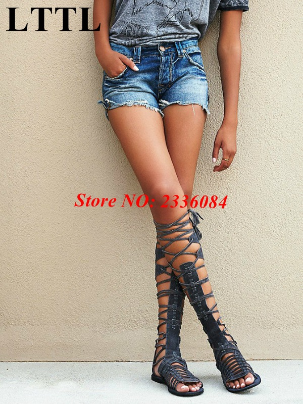 LTTL Boho Style Women's Back Zipper Open Toe Knee High Tall Lace Up Cut Out Roman Gladiator Flat Sandals Boots Shoes size 34-42 brand designer faux leather strappy roman goth gladiator thong lace up bandage sandals knee high boots flat shoes free shipping