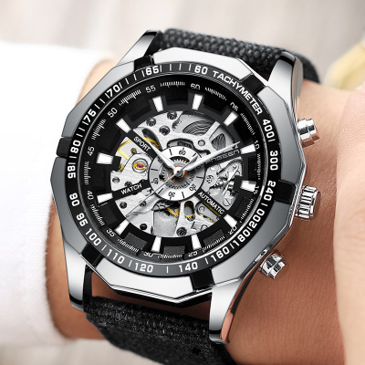 2018 New FNGEEN brand new high-end fashion steel belt automatic hollowing machinery men's watches Stainless Steel clock 3