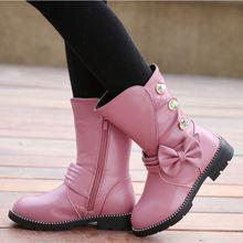 Мода для девочек кожаные сапоги Детская зимняя обувь до середины икры с бантом принцесса Snowboots Chaussure Fille мотоциклетные туфли без каблуков обувь TX246