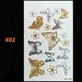 Бабочка металла золота хна татуировки флэш золото временные татуировки человек татуировки фальшивки largeglitter татуировки волны, чем искусство